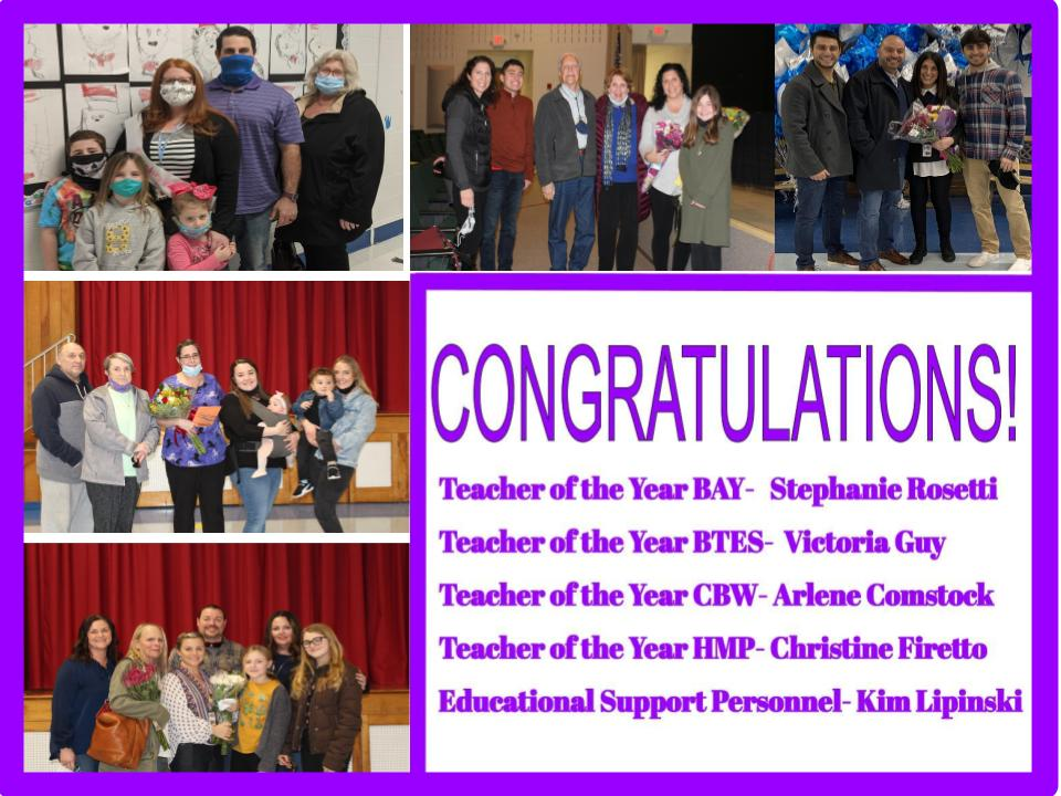 Teachers of the Year Stephanie Rosetti, Victoria Guy, Arlene Comstock, Christine Firetto and ESP of the Year Kim Lipinski