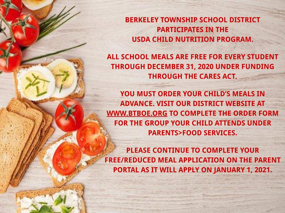 All meals for students are free through December.