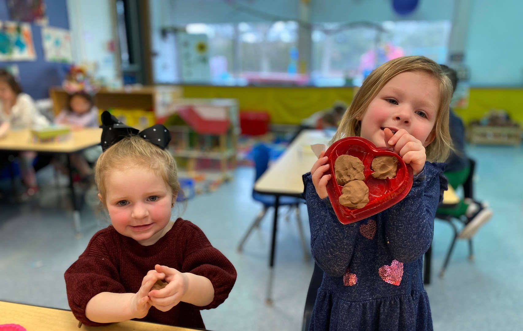 Bayville School preschool students celebrate Valentine's Day.