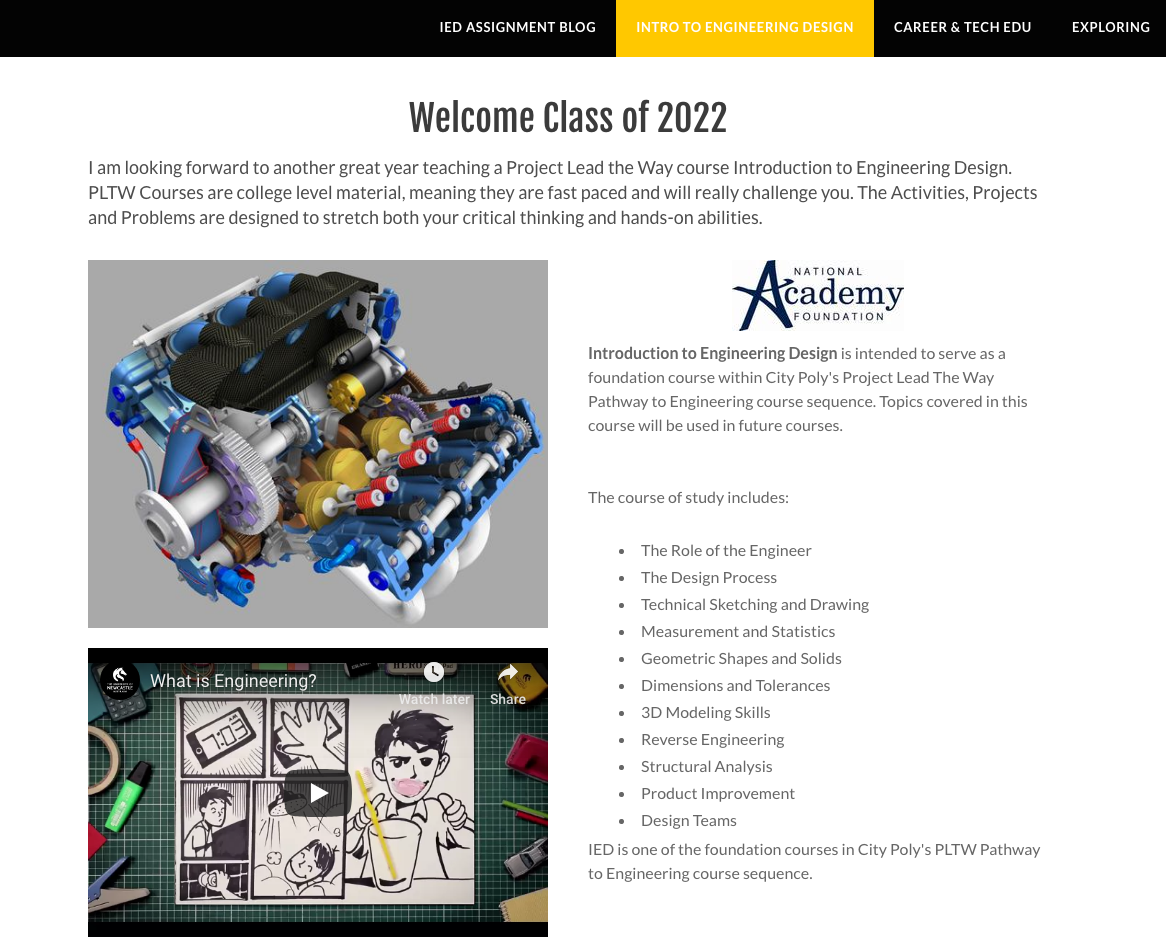 Front page of the engineering class website