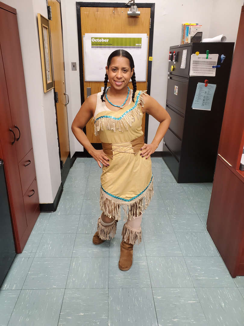 Principal dressed up as Pocahontas for character day.