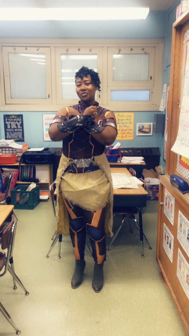 Teacher dressed up for character day.