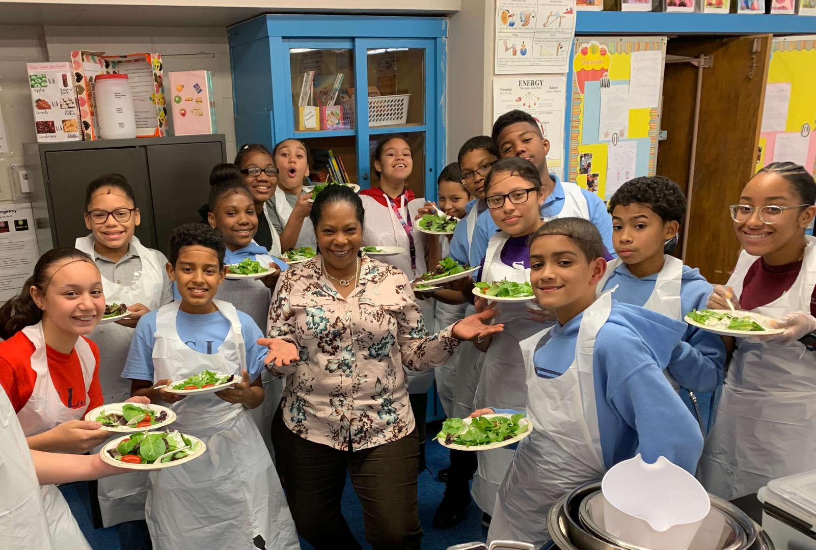 NSLA Student Chefs presenting salads