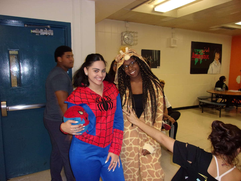 Spiderman and giraffe pajamas