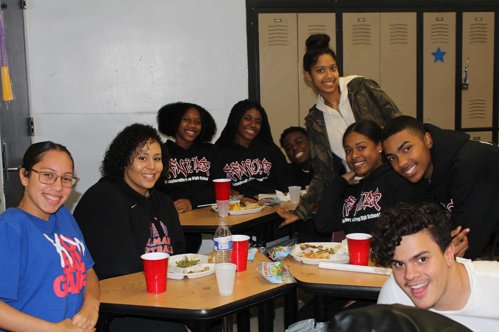 students at holiday feast