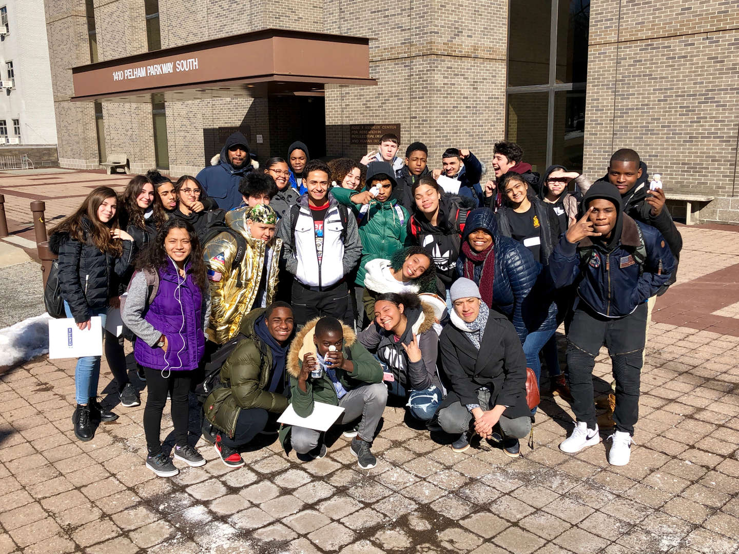 group of students pose Einstein Trip
