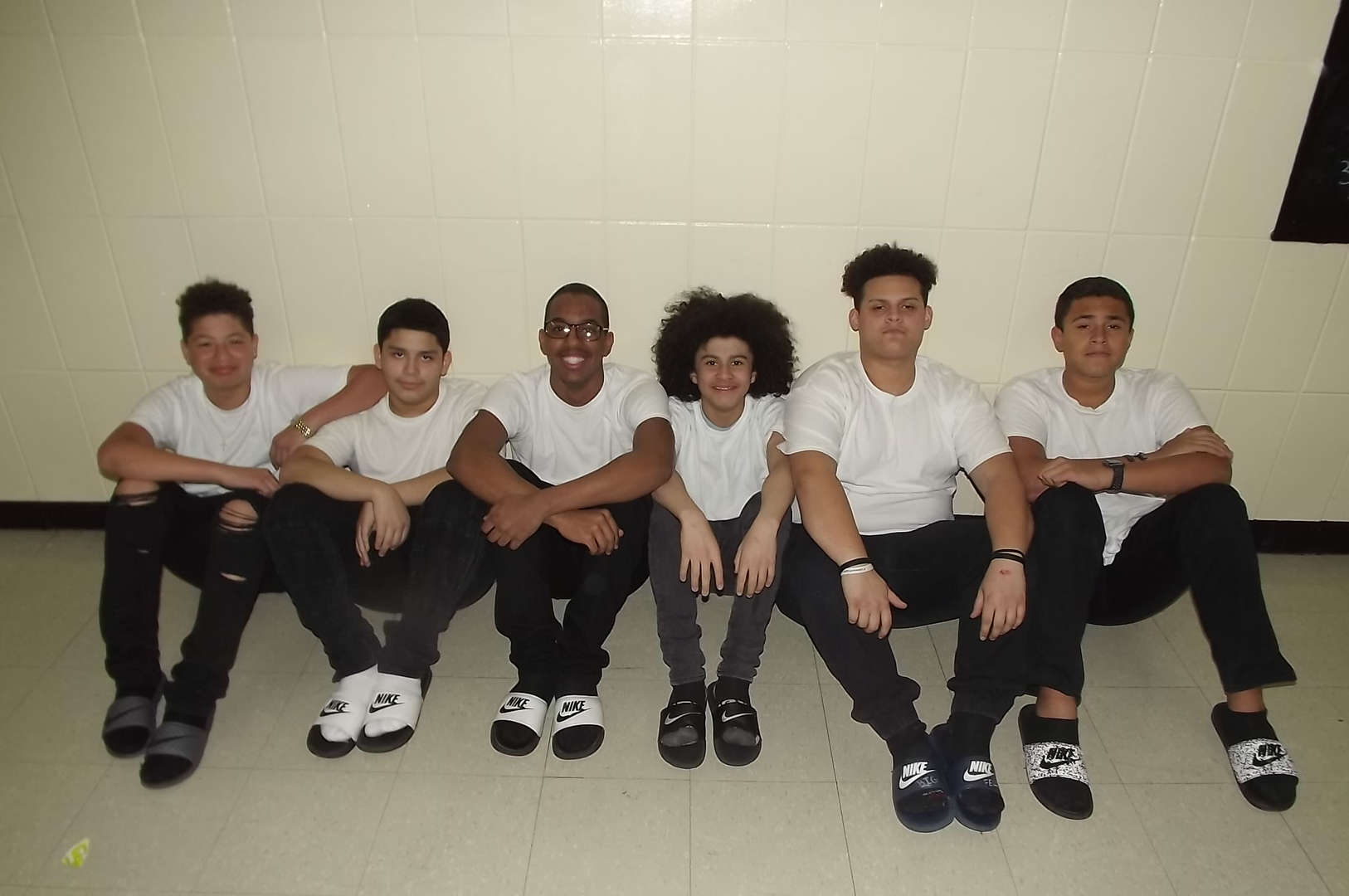 white tshirt group for twin day