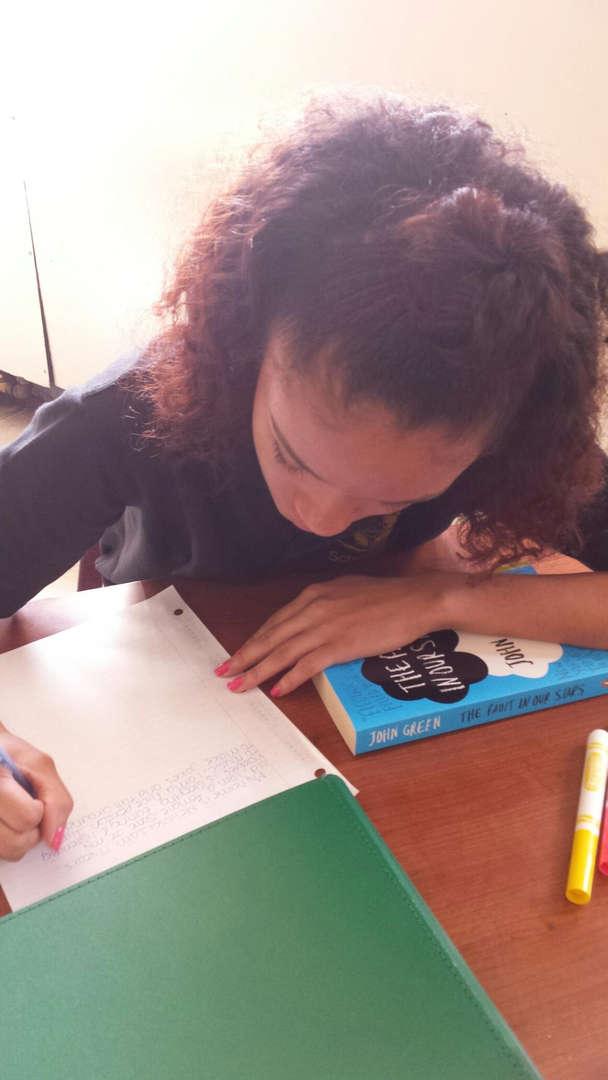 student doing ela work