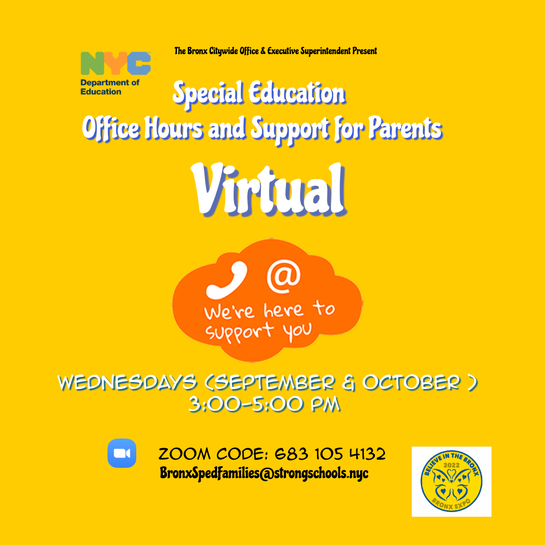 Wednesdays in September & October 3-5 pm   Special Education Office Hours - Parents can Zoom in to ask questions or get guidance on Special Education.    Zoom 683 105 4132    https://us02web.zoom.us/j/6831054132