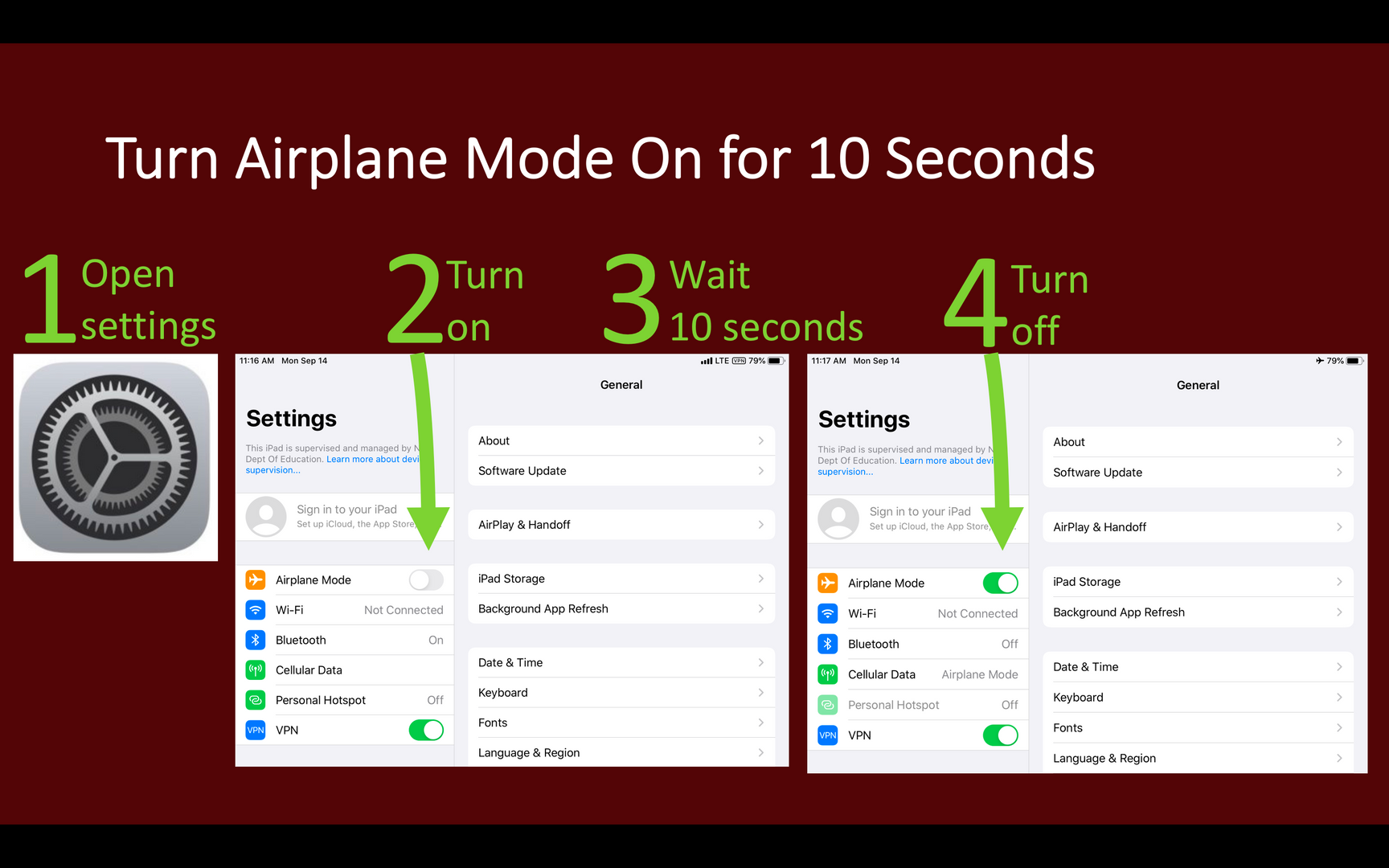 Steps to turn airplane mode on and off