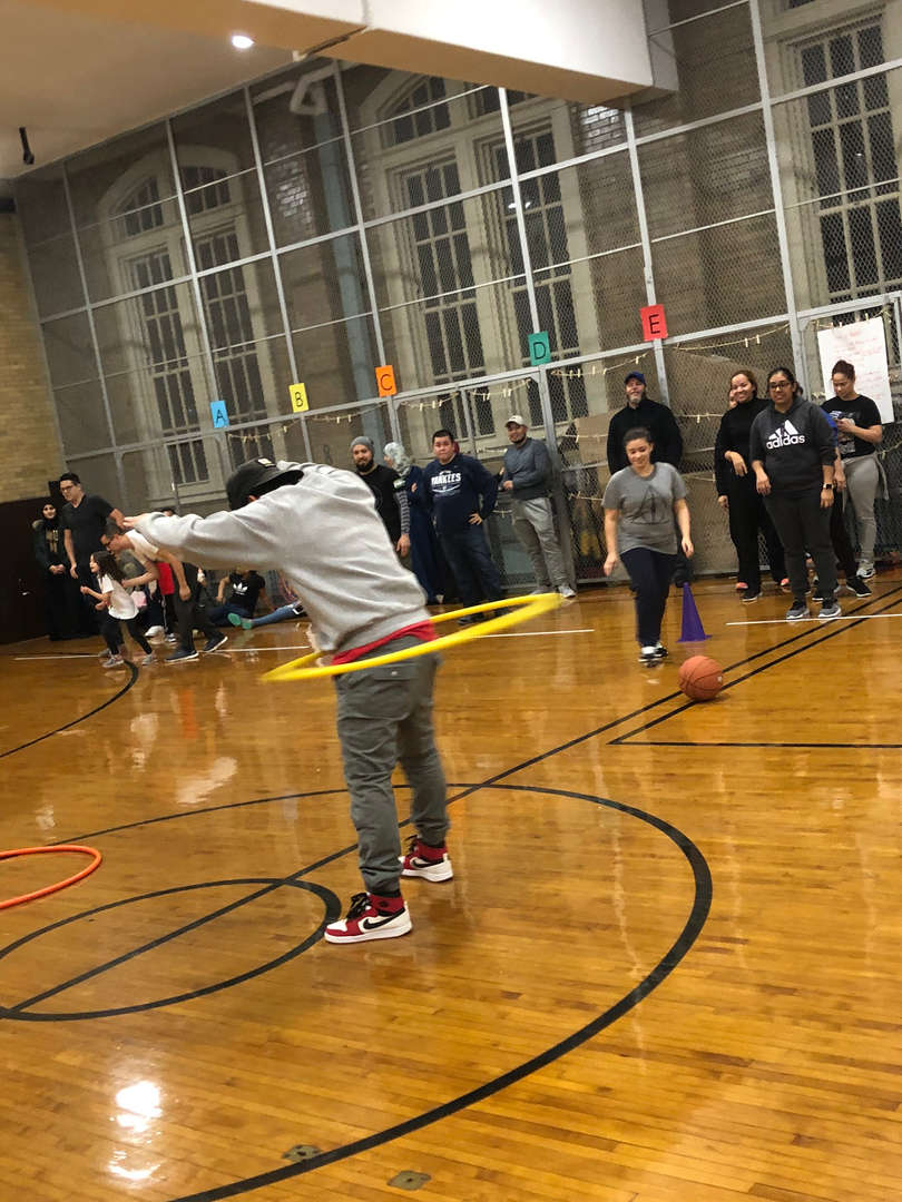 A student hula hooping.