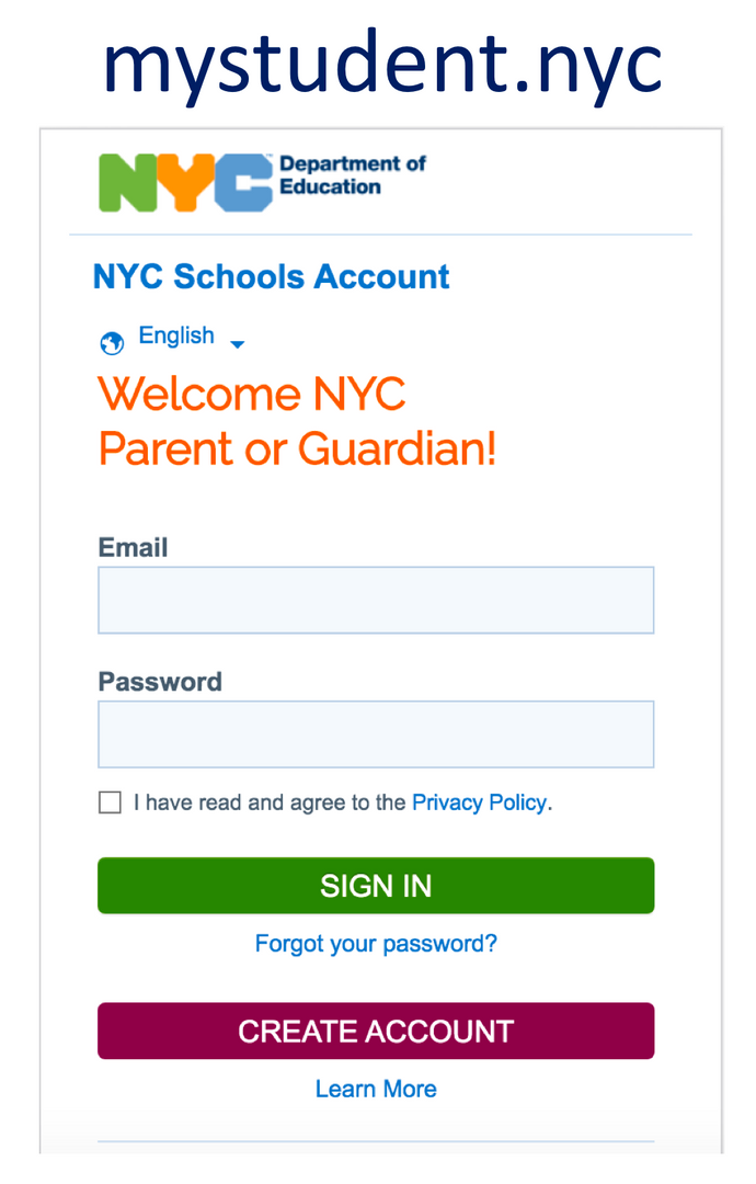 Open the mystudent.nyc login page.