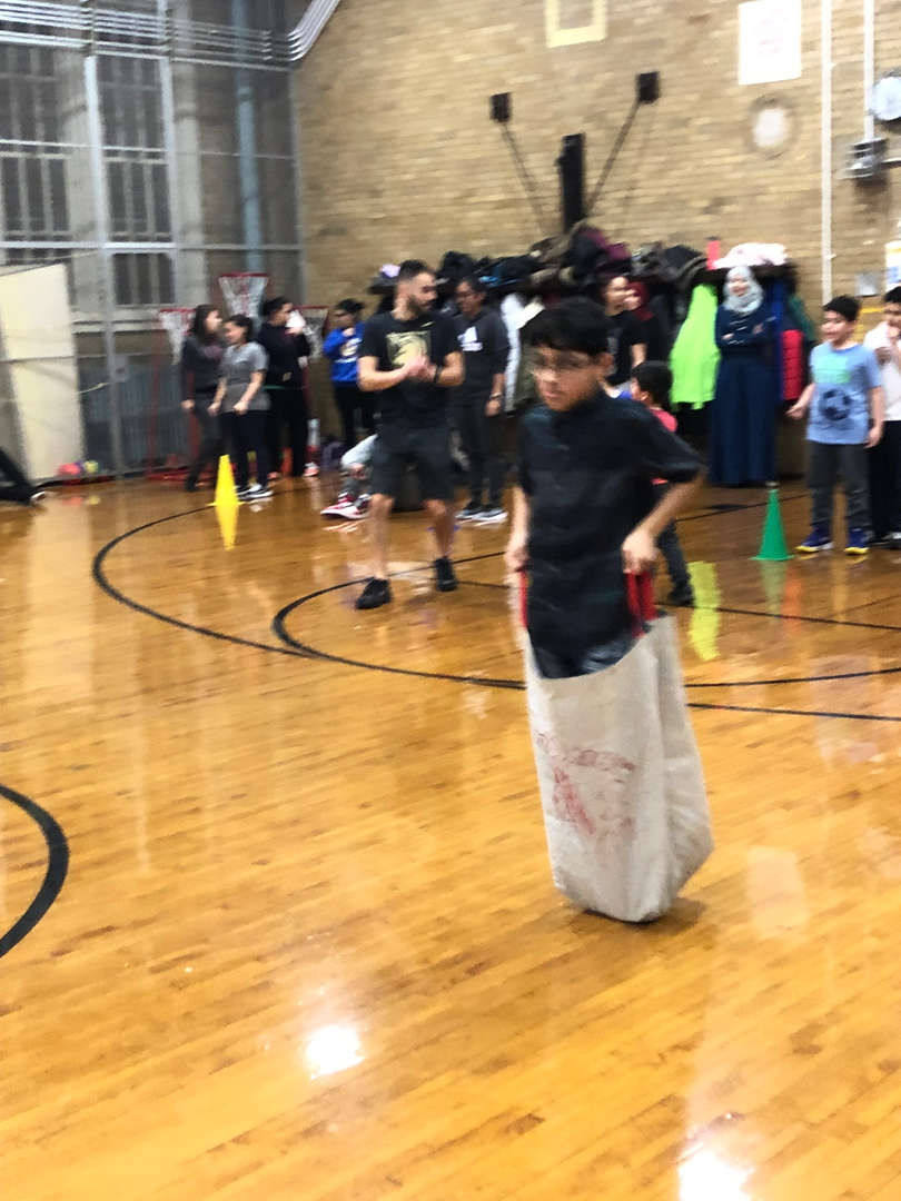 Another student in a potato sack race.