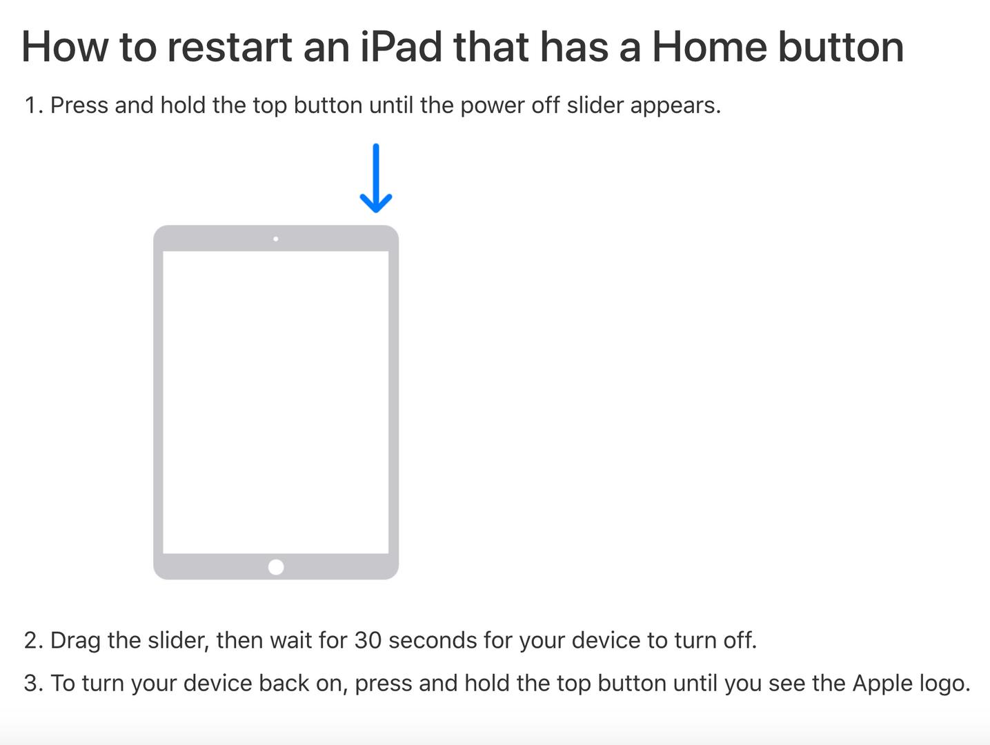 Steps to restart an iPad