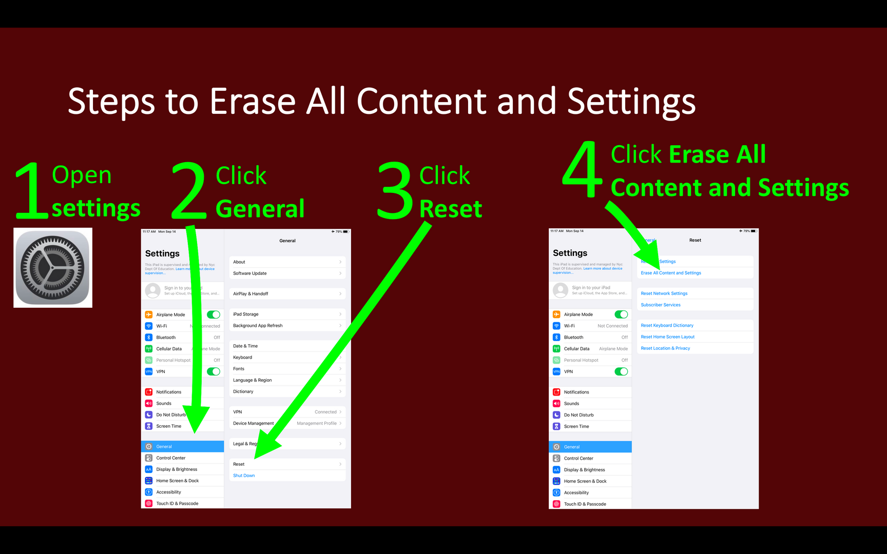 Steps to Erase All Content and Settings