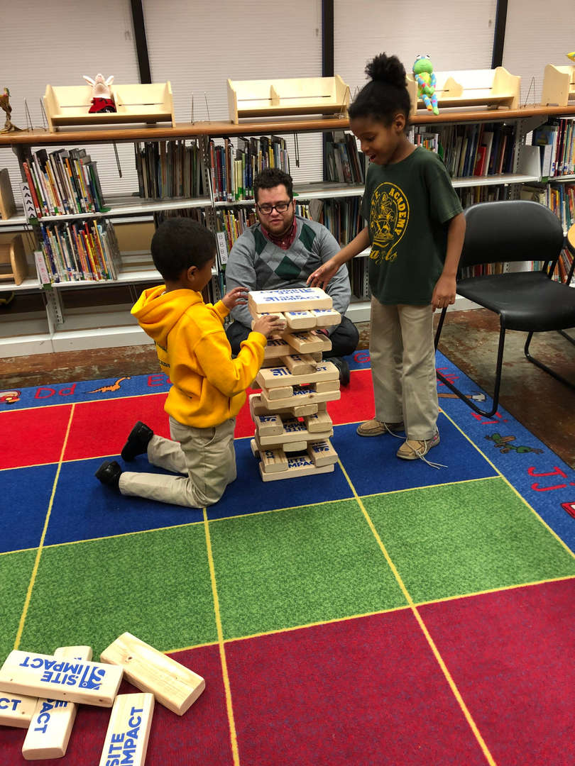 2nd graders played JENGA at the Makerspace (12/15)