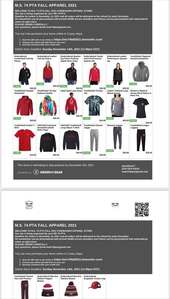 Screenshot of team 74 apparel