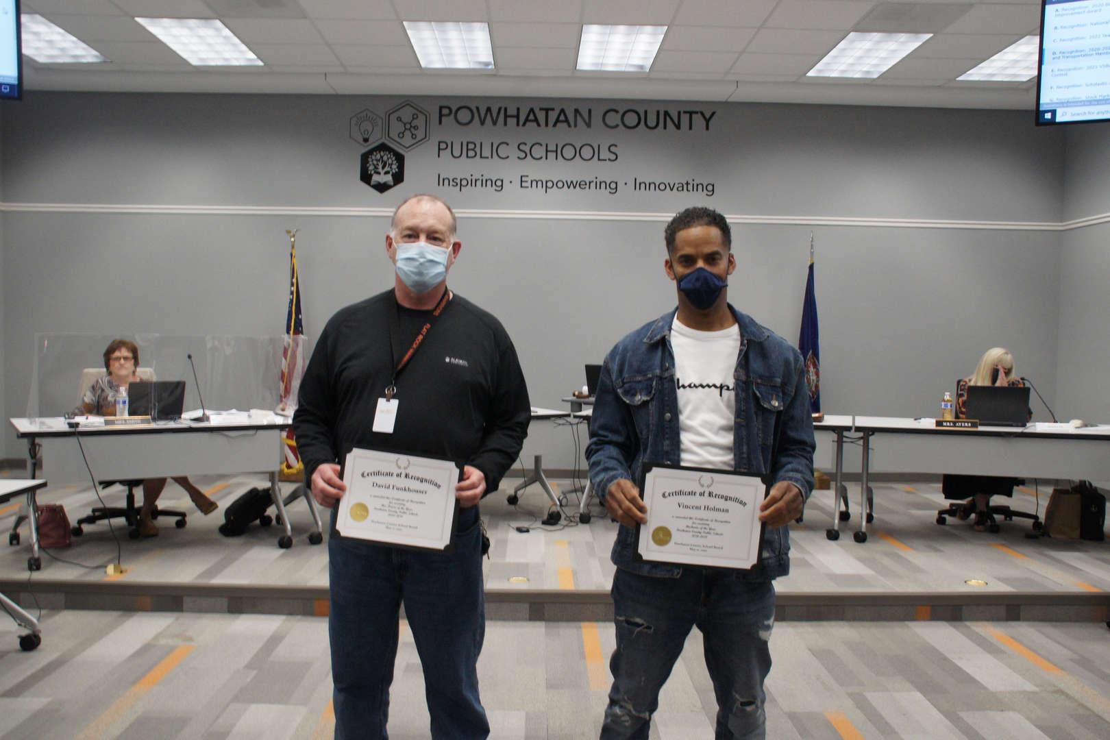 David Funkhouse (left) & Vincent Holman (right) receive transportation recognition awards