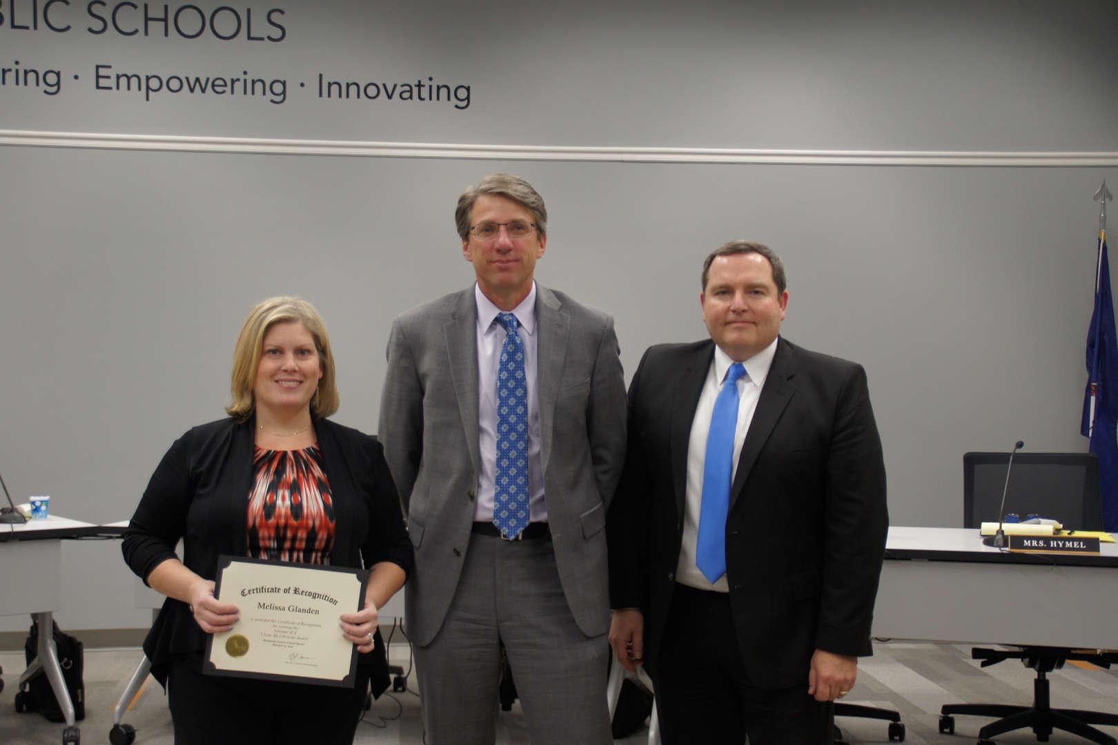 Melissa Glanden receives I Love My Librarian award