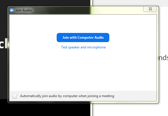 Enabling Audio won't be used - close out this box and confirm continue without Audio