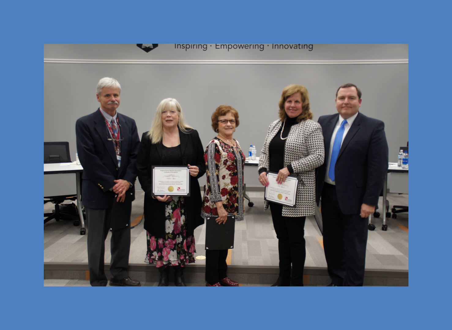 PCPS 2020 School Board receives appreciation certificates