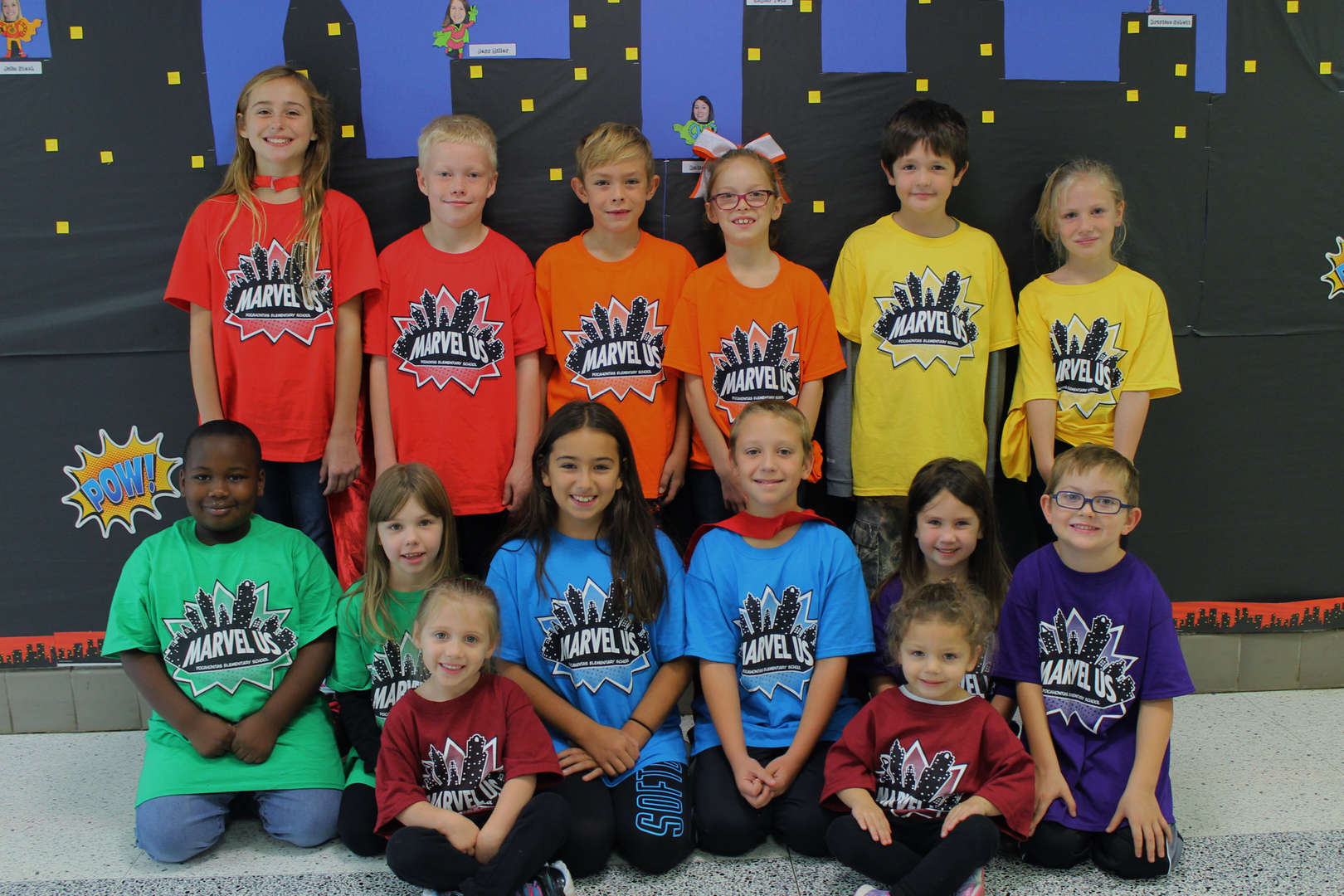 Students wearing grade level team shirts