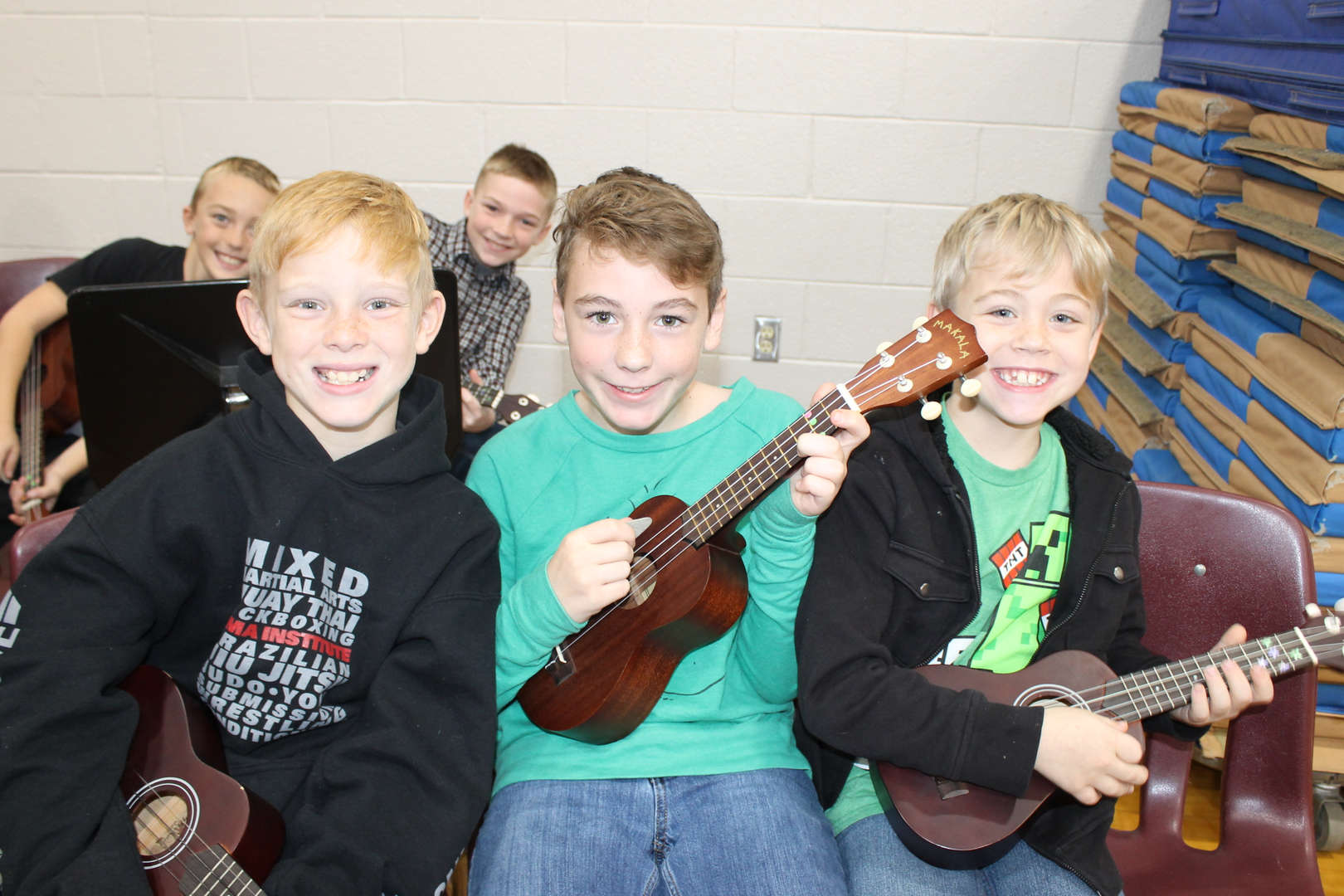 4th grade boys getting ready to perform
