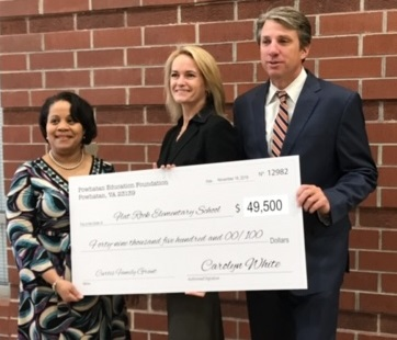 Powhatan Education Foundation & Superintendent Dr. Jones present check to FRES
