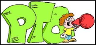 green PTO letters and student with a megaphone