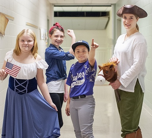 teacher and students dressed up as historical figures