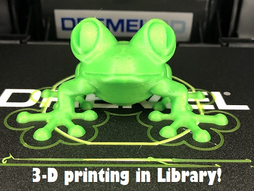FRES 3D printer made this green frog