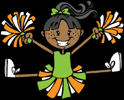 clip art cheerleader jumping in the air with orange and white pom poms