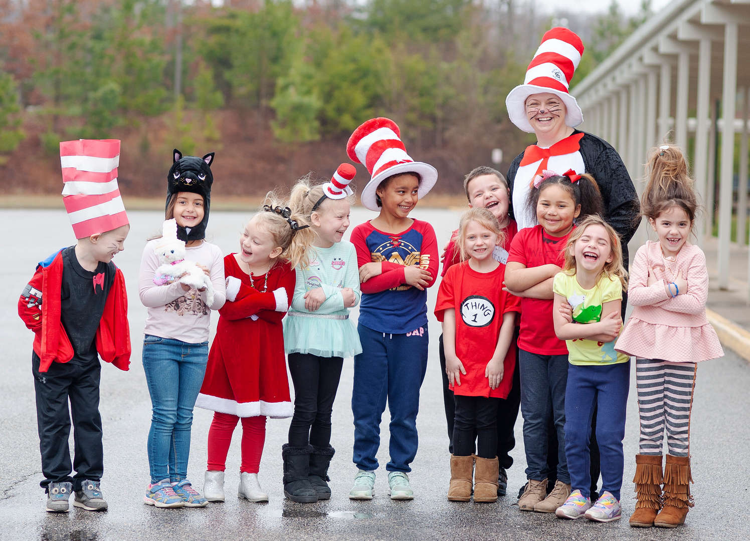 Students dressed up for Dr. Seuss Day