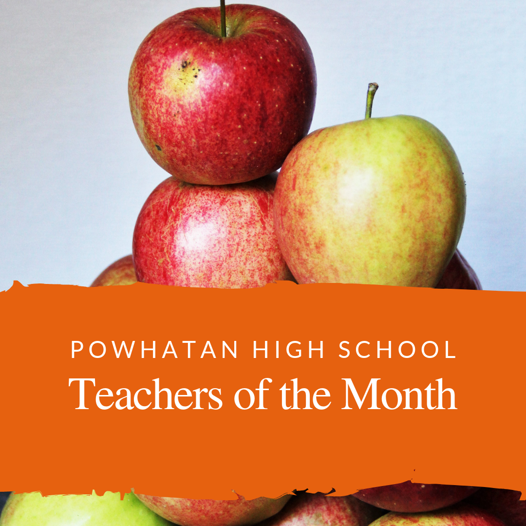 Powhatan High School teachers of the month with apples