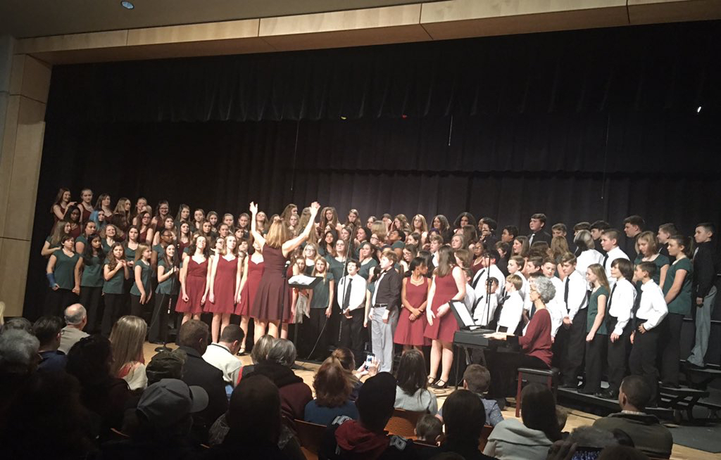 chorus students on stage