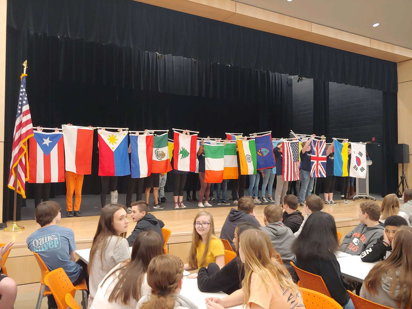 Flags representing student nationalities