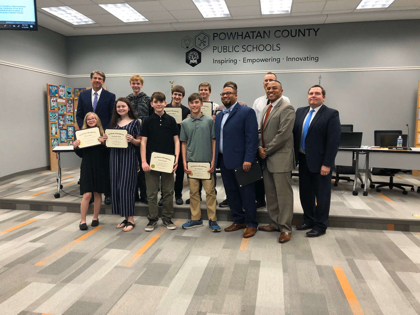 band students with school board members