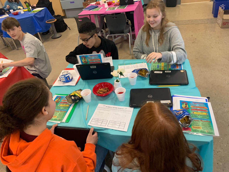 students in restaurant simulation