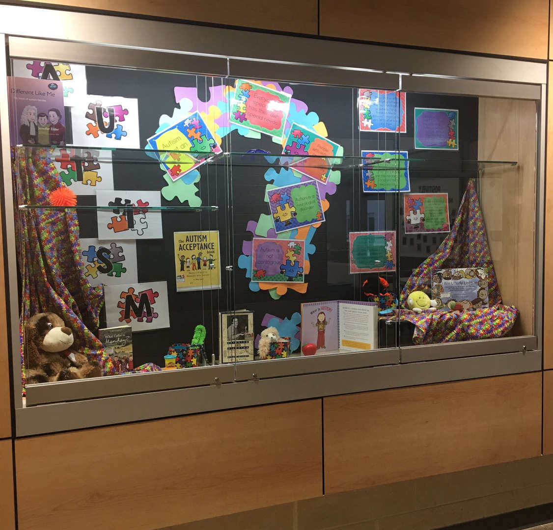 Autism Awareness month display in hallway