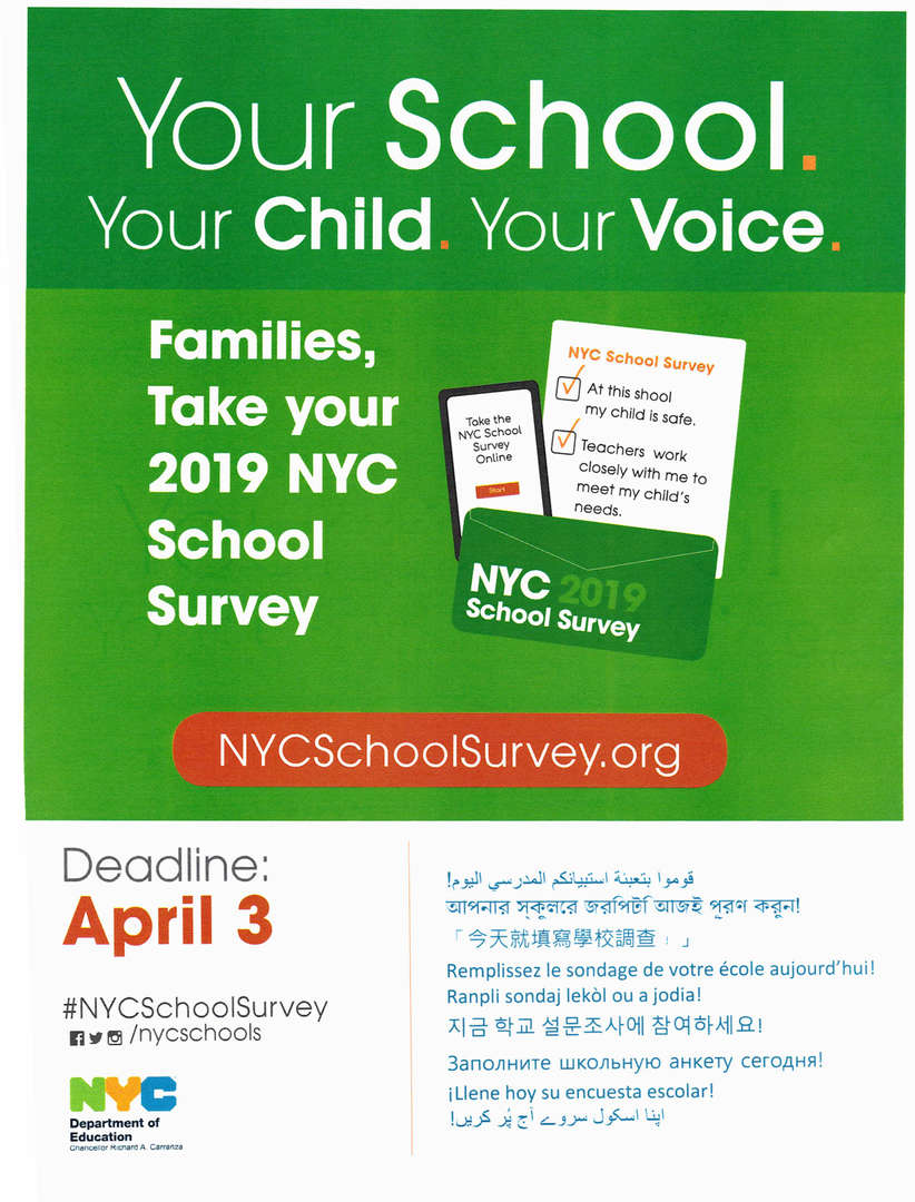 NYC School Survey has been extended to April 12, 2019.  Let your Voices be heard.