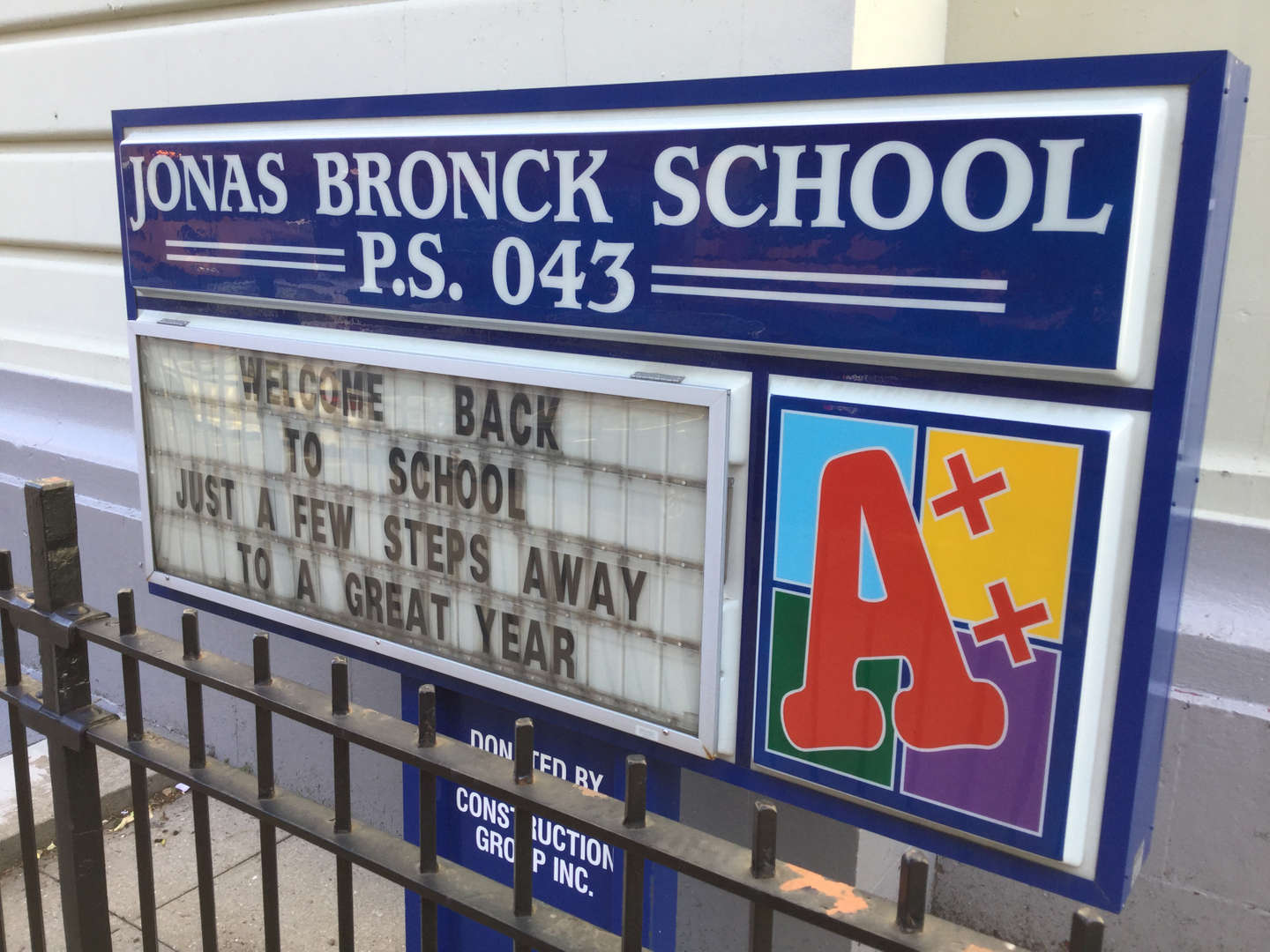 P.S. 43X welcome back sign