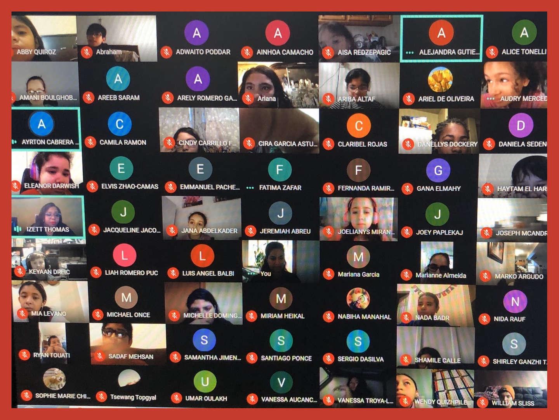 Scholars on a virtual meet with Principal Thomas