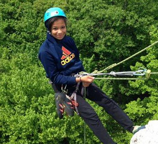 Student on rock climbing trip
