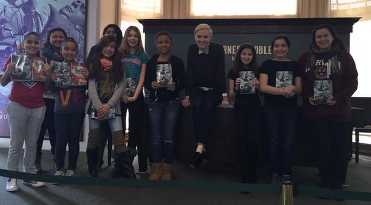 Students at Barnes & Noble for an author visit