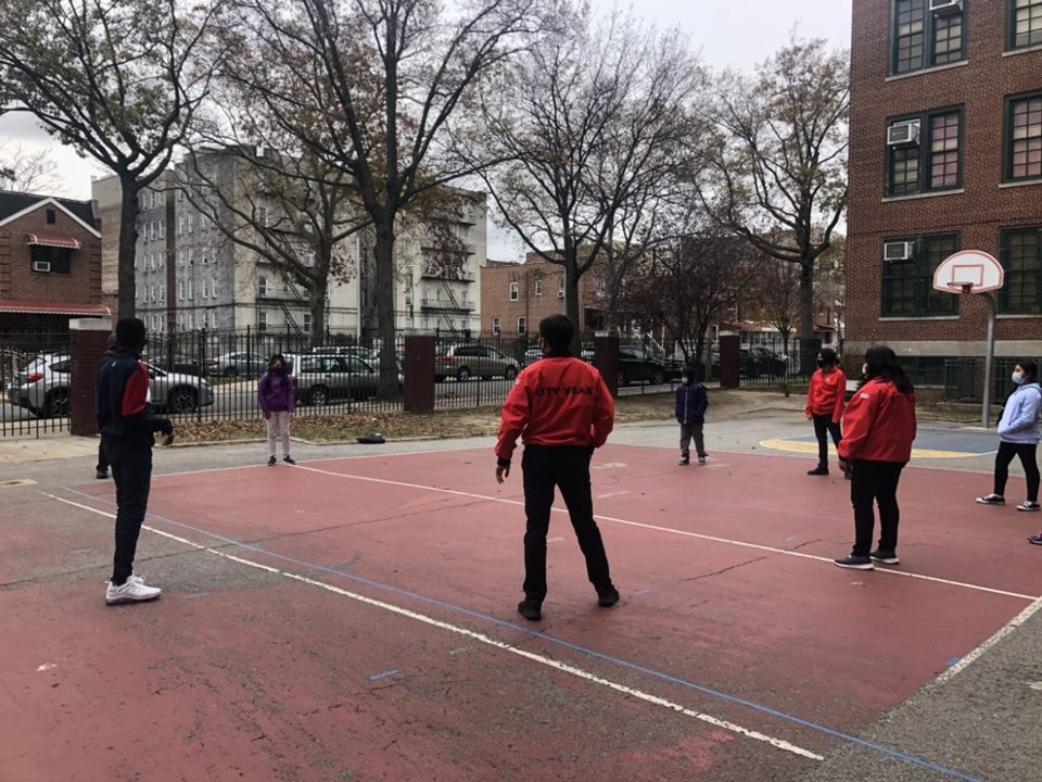 City Years playing outside with students