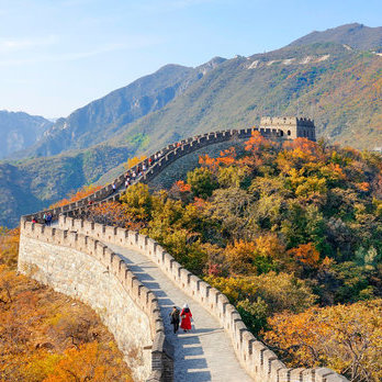 The Great Wall of China in the autumn.