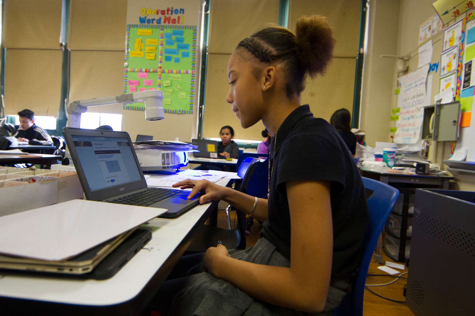 Student using laptop for project
