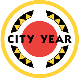"""Red circle in the center with the words """"City Year."""""""