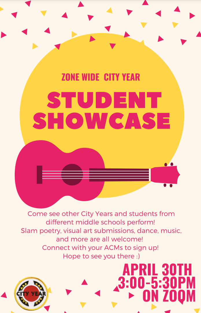 Event poster for a Student Showcase in English.