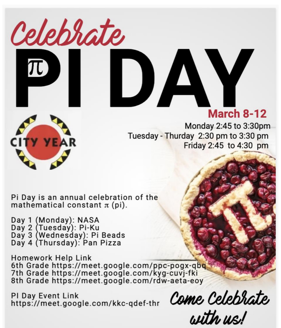 Event poster for Pi Day in English.